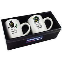 """BRUBAKER 2er Set Becher """"Der frühe Vogel"""" Keramik Kaffebecher Tasse Kaffeetasse"""