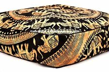 Indian Square Floor Pillow Elephant Mandala Ottoman Meditation Cushion Cover 35""