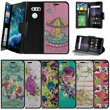 For LG V30   LG V30 Plus Wallet Case w/ Wrist Strap Stand Card Slots - Flowers