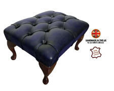 Chesterfield Antique Blue Deep Buttoned 100% Genuine Leather Footstool Handmade