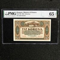 1920 Hungary, Ministry of Finance, 10 Korona, Pick # 60, PMG 65 EPQ Gem Unc.