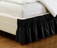 "Fancy Linen Elastic Bed Ruffles Bed-Skirt 14""Drop Assorted Colors All Sizes New"