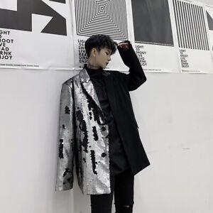 Mens Long Sleeve Stage Jacket Blazer Lapel Sequins Coat Parka Party Suit Outwear