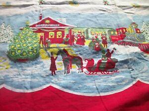 Border Print Curtains Christmas Train & Station Vintage Material Curtains