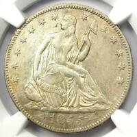 1855 Arrows Seated Liberty Half Dollar 50C Coin - Certified NGC AU Details