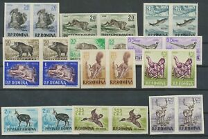 [PG98] Romania 1956 FAUNA set VF MNH stamps Horizont pair imperf val $225