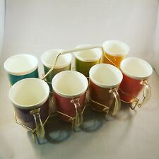 Set of 8 Thermo Ware / Raffiaware Insulated Melmac Cups with Original Holder