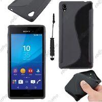 Housse Etui Coque Silicone S-line Noir Sony Xperia M4 Aqua / Dual +Mini Stylet
