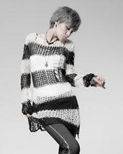 Punk Rave Shredded Knit Sweater Top Black White Stripe Goth Distressed Grunge