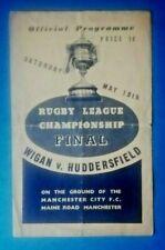 More details for 1946 - wigan v huddersfield, league championship final programme.