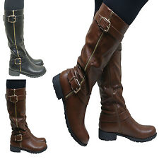 Women's Knee High Block Zip Synthetic Boots