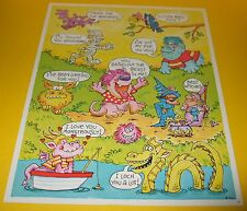 Vtg 80s Hallmark Cards Sticker Sheet~MONSTERS~WiZARDS~FANTASY~VULTURE~BEAST~Rare