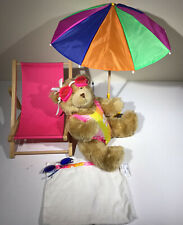 Build A Bear Pink Chair, umbrella, bear, bathing suit, towel goggles and glasses
