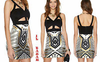 vestito donna mini abito corto ritagli stampa metallica oro tg M,L