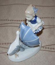 Vintage GDR Stamped Porcelain Figurine Girl Umbrella Goose