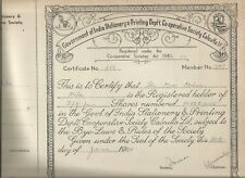 1958 India share certificate:Govt of India Stationery & Printg Deptt CoOp Soc Ld