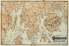 1890 Map Mount Desert Island and Coast Of Maine Steamship Wall Art Decor Poster