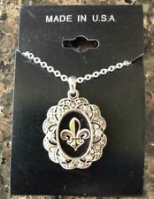NEW! FLEUR DE LIS   -NEW ORLEANS / SAINTS  SILVER  NECKLACE