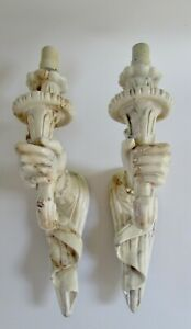 Mid-Century Figural Sirmos Style Plaster Hand & Torch Sconces