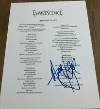 Amy Lee Evanescence Bring Me To Life Signed Autographed Lyric Sheet COA (E3)