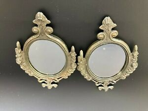 Vintage Set of 2 Oval Ornate Small Metal Framed Wall Mirrors Roses Made in Italy