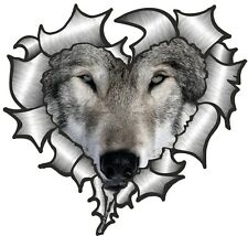 Ripped Torn Metal Look HEART With Wolf Wolves Face Eyes vinyl car sticker Decal