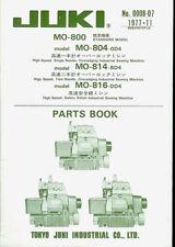Juki MO-804/814/816 Industrial Sewing Machine Orig Illustrated Parts List Manual