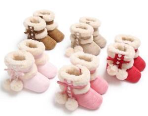 Newborn Baby Boy Girl Pram Shoes Faux Fur Pom Pom Boots Winter Snow Booties 0-18