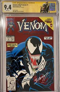 Venom Lethal Protector 1 CGC SS 9.4 Mark Bagley Awesome Signature And Placement!