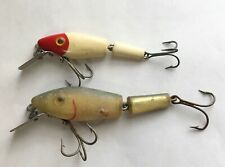 2 L&S MIRROLURE JOINTED SINKER LURES ~ Red & White Panfish, 15M Green over Gold
