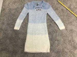 TU@SAINSBURYS GIRLS BLUE AND CREAM JUMPER DRESS WITH JEWEL DETAIL  AGE 6 YEARS