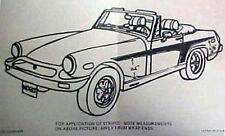 New 1975-1976 MG MIDGET OEM SPECIAL Side Body T Stripe Kit Roadster 1925-1975