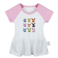 Cute eevee family Pattern Newborn Baby Girls Dress Toddler Infant Cotton Clothes