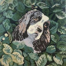 English Cocker Spaniel Dog Needlepoint Only 14� Handdone Handmade Beautiful Rare