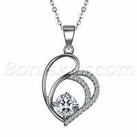 925 Sterling Silver Womens Charm Love Heart Cubic Zirconia Pendant Necklace Gift
