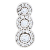 .25ctw Round Brilliant Diamond Pendant - 14k White Gold Halo Milgrain Journey