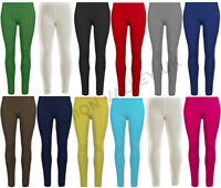 GIRLS PLAIN COTTON LEGGINGS STRETCHY SCHOOL LEGGING WARM PANTS SIZE 2-13 YEARS
