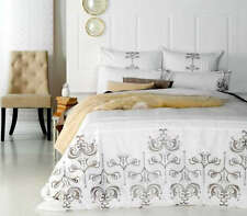 Ardor Carina White 100% Cotton Embroidered Queen Size Quilt Cover Set