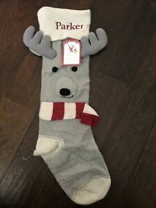 NWT Pottery BARN KID Fair Isle Knit Reindeer Gray CHRISTMAS STOCKING Mono Parker