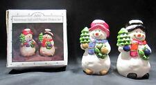 "Scott's Christmas Collectible 3.5"" Tall Ceramic Snowman Salt Pepper Shakers 6166"