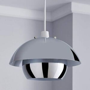 """Chrome Modern 11"""" 29cm UFO Style Two Tier Pendant Light Shade Easy Fit"""