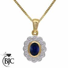 Collares y colgantes de joyería con gemas azules naturales de oro amarillo
