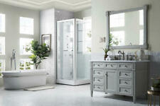 "48"" James Martin Brittany Gray Single Bathroom Vanity + White Carrera Marble Top"