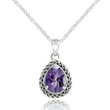 Sterling Silver Amethyst Pear-Cut Oxidized Rope Pendant Necklace