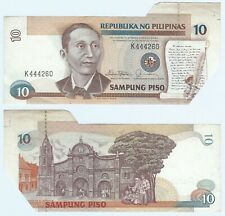 1985 Philippines 10 Piso Pesos ~ CUTTING ERROR ~ Choice VF ~ P169