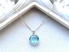 Aquamarine Quartz Bezel 10mm Round Sterling Silver Chain Necklace