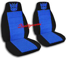 2 Front Black and Medium Blue Transformer Seat Covers Universal Size