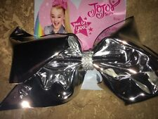 NWT Jojo Siwa Large Silver Shiny Mirror Metallic Bow Dance Cheer School Summer