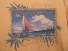 Sailboat Escape to Paradise yellow Graphic XL t shirt Caribbean Islands