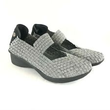 Bernie Mev Yael Womens Shoes Wedge Woven Slip On Silver Sparkle Size 37 US 7